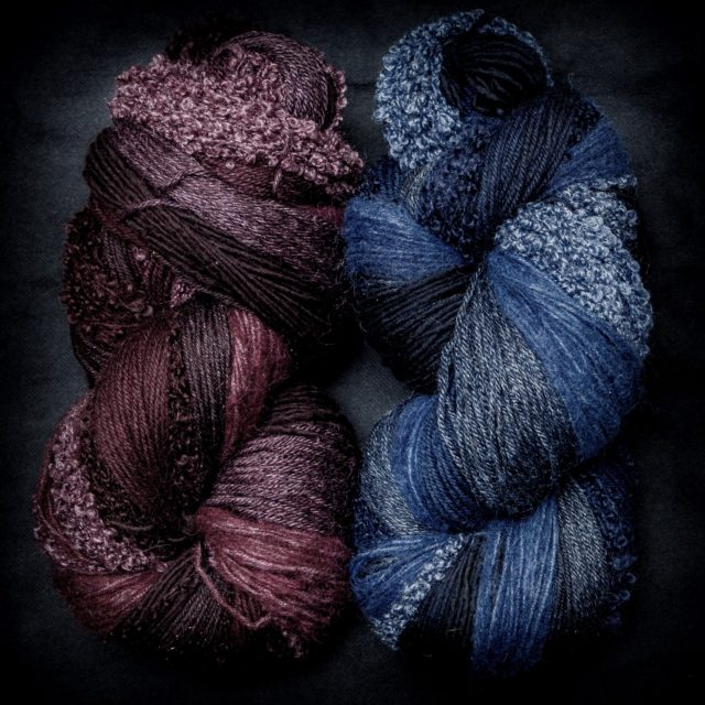 Garnet and Cobalt mixed fiber yarn