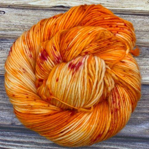hand-dyed orange yarn